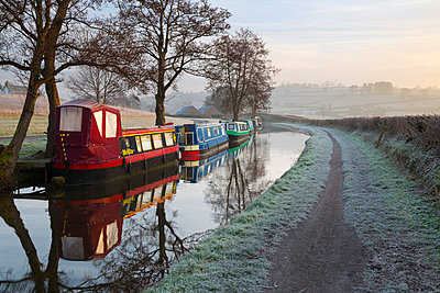 Barges on Monmouthshire and Brecon Canal in frost, Pencelli, Brecon Beacons National Park, Powys, Wales, United Kingdom, Europe - p871m1017504 by Stuart Black