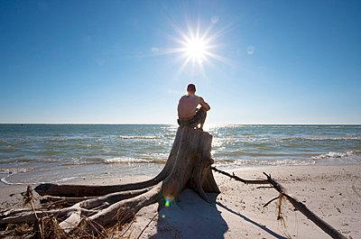 Man sitting on a stump on the beach - p4880311 by Bias