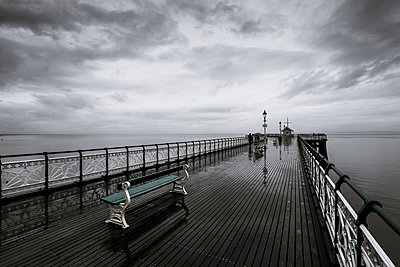 Stormy sky over Penarth Pier - p1228m1058132 by Benjamin Harte
