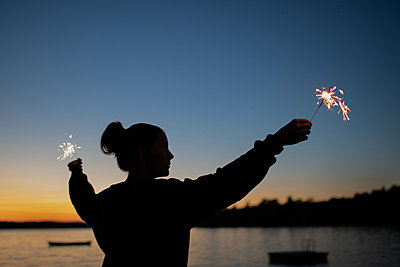Sparkler Girl - p1503m2015862 by Deb Schwedhelm