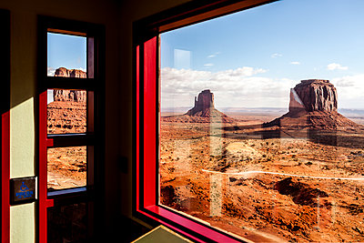 Monument Valley seen from the visitor center's windows at Monument Valley - p1094m1209065 by Patrick Strattner
