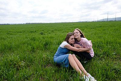 Two sisters in field - p1363m2082264 by Valery Skurydin