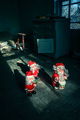 Santa Clauses in the abandoned room - p1019m2142912 by Stephen Carroll