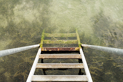 Ladder going down into water - p1462m1515745 by Massimo Giovannini