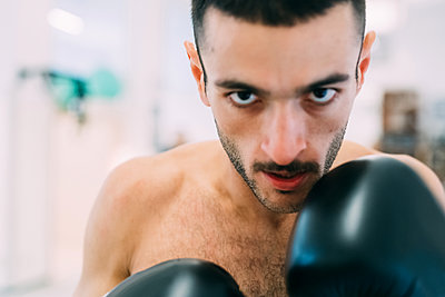 Portrait of man in boxing gloves looking at camera - p429m1578536 by Eugenio Marongiu
