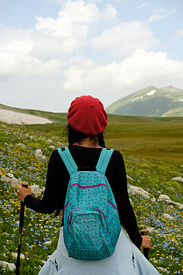 Woman hiker in Caucasus Mountains - p1363m2063263 by Valery Skurydin
