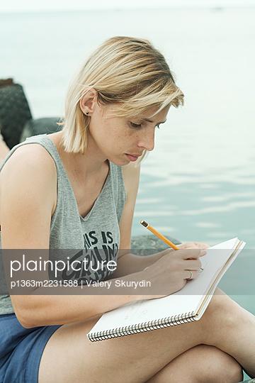 Drawing woman - p1363m2231588 by Valery Skurydin