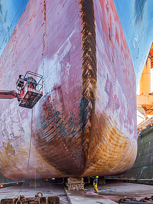 Ship in the dry dock, maintenance works - p390m2209191 by Frank Herfort