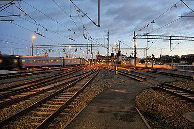 Train station at dusk - p575m714938 by Stefan Ortenblad
