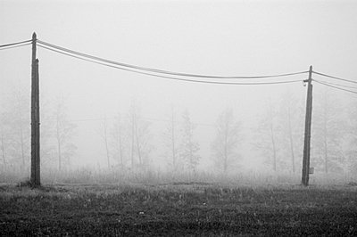Two electric pole an wires in the winter fog - p8290029 by Régis Domergue