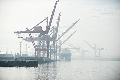 Shipping cranes in foggy industrial harbor - p555m1415347 by Pete Saloutos