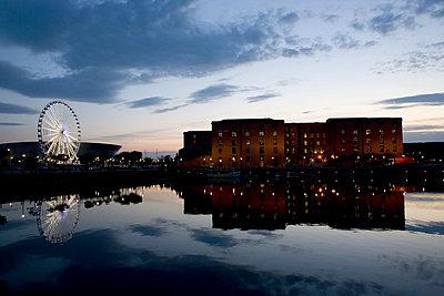 Sunset over waterfront towards Albert Dock, Liverpool, UK - p92411741f by Elizabeth Ellen