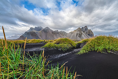 Vestrahorn mountain, or the area known as Stokknes, Southeast Iceland; Hofn, Iceland - p442m2074215 by Robert Postma