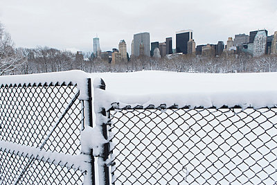 Fence;  snowy urban park and skyline - p924m807178f by Ditto