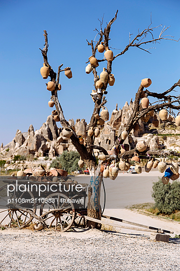 Many clay pots hanging on a tree - p1108m2110983 by trubavin