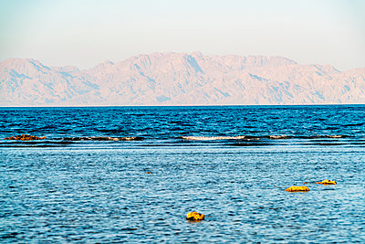 Red sea, Dahab in spring with mountains in the background - p1332m1502616 by Tamboly