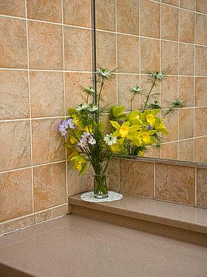 Flowers in the bathroom - p7840007 by Henriette Hermann