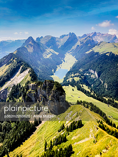 View from the Hohe Kasten towards the Sämtisersee and Säntis - p382m2263620 by Anna Matzen