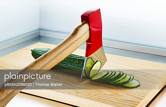 Axe with cucumber - p803m2286023 by Thomas Balzer
