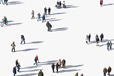 Menschen auf weißem Grund mit Schlagschatten - p719m2128713 von Rudi Sebastian