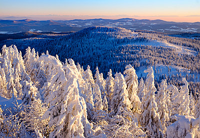 Germany, Bavaria, Bavarian Forest in winter, Mittagsplatzl, View Great Arber - p300m1416669 by Martin Siepmann