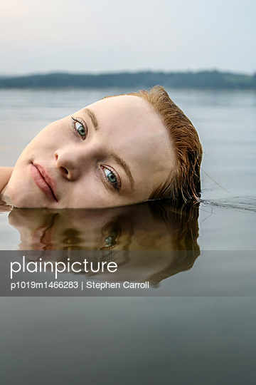 Fair Redhead in Calm River  - p1019m1466283 by Stephen Carroll