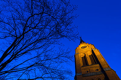 Illuminated church tower - p312m1471193 by Mikael Svensson