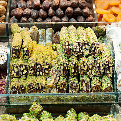 Food On Display For Sale At The Grand Bazaar; Istanbul Turkey - p442m748475f by Keith Levit