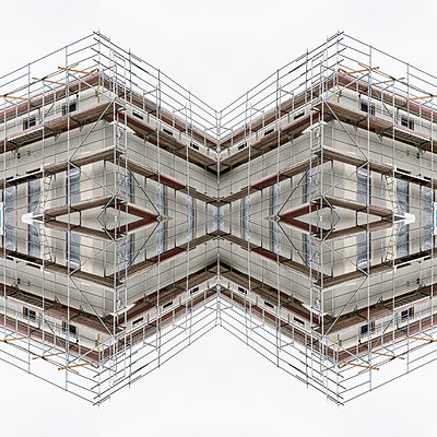 Abstract kaleidoscope of a shell facade with scaffolding - p401m2209307 by Frank Baquet