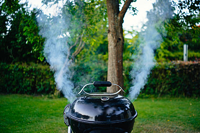 Smoking grill in the garden - p1053m2168306 by Joern Rynio