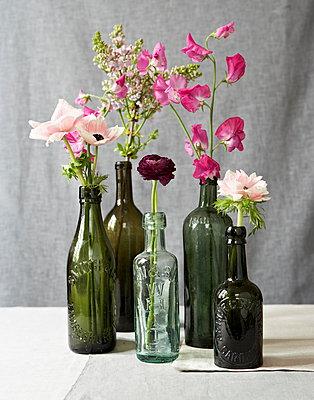 Pink single stem flowers in vintage glass bottles - p349m896278 by Jon Day