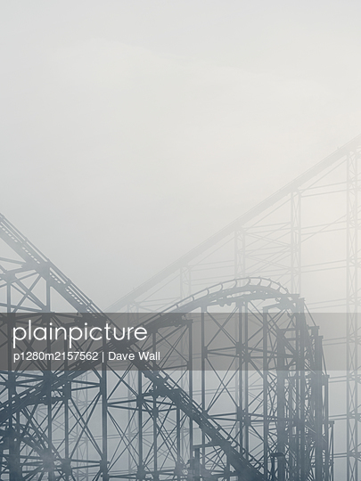 Great Britain, Blackpool, Rollercoaster in the fog - p1280m2157562 by Dave Wall