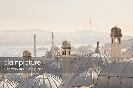View across the Bosphorus from the Suleymaniye Mosque & Bosphorus, Istanbul, Turkey - p651m2271080 by Jon Arnold