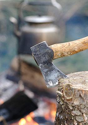 Axe stuck in tree stump - p5756988f by Stefan Ortenblad