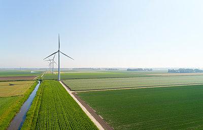 Wind turbines in wind farm in summer, Biddinghuizen, Flevoland, Netherlands - p429m2019462 by Mischa Keijser
