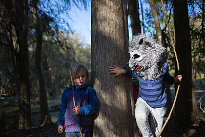 Kidsplay in the woods - p1308m2065300 by felice douglas