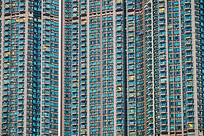 Partial view of apartment tower, Kowloon, Hong Kong, China - p300m2121710 by Michael Reusse (alt)