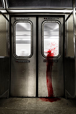 Subway train covered in blood - p1280m1585977 by Dave Wall