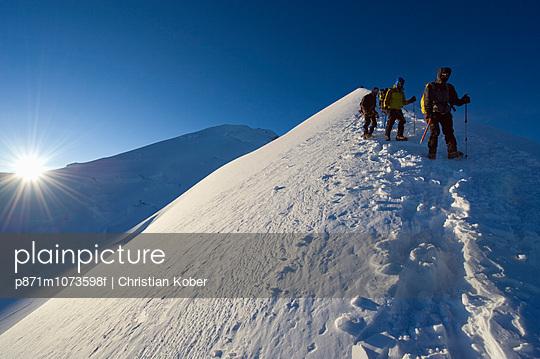 Summit ridge of Mont Blanc at 4810m, Chamonix, French Alps, France, Europe