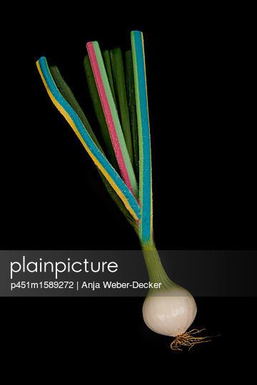 Lauchzwiebel mit Zuckerschlangen - p451m1589272 von Anja Weber-Decker