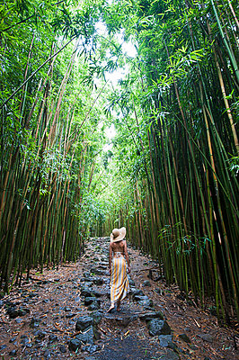 Young woman walking in bamboo grove - p429m898332 by Lindsay Upson