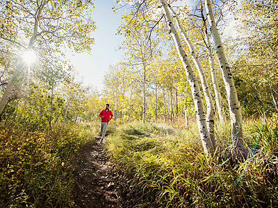 Healthy Caucasian man running on mountain trail in autumn - p1166m2073710 by Cavan Images