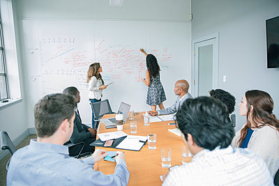 Businesswoman writing on whiteboard in meeting - p555m1504079 by John Fedele