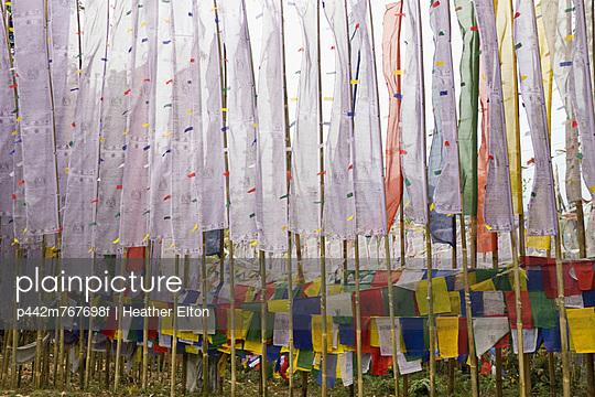 Buddhist prayer flags at tashiding monastery;West sikkim india