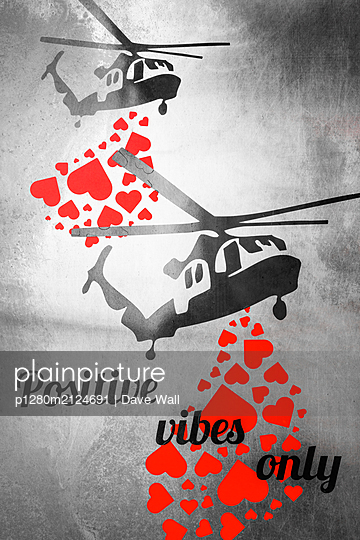 Graphic depiction of helicopters dropping love hearts  - p1280m2124691 by Dave Wall