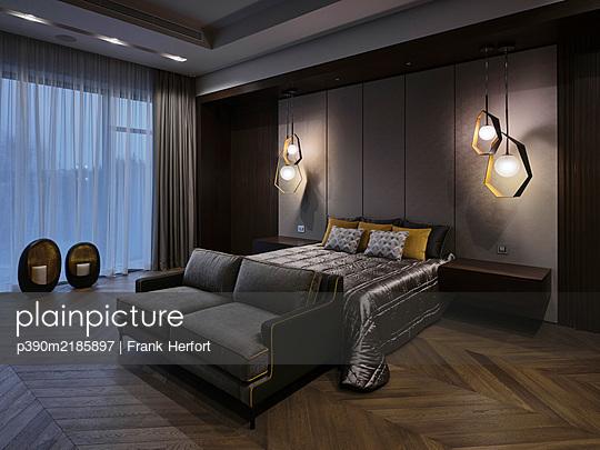 Bedroom interior de luxe - p390m2185897 by Frank Herfort