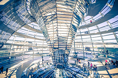 Interior shot of the dome of the Reichstag Parliament Building, Berlin, Germany - p1062m1172129 by Viviana Falcomer