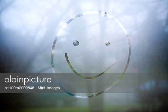 Smiley Face on Window, Seattle, Washington - p1100m2090848 by Mint Images