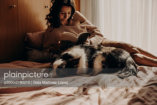 Dog lying on bed at home with owner in the background - p300m2180210 by Gala Martínez López
