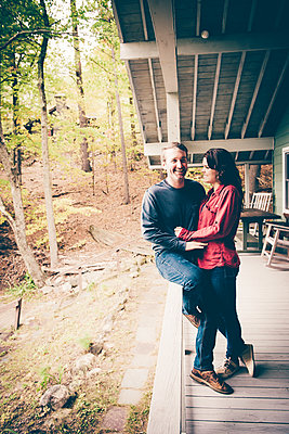 Lake George Fall Couples Portrait  - p1086m1488771 by Carrie Marie Burr